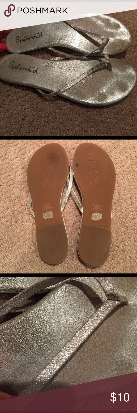 Thong sandals by Splendid Silver thong sandals by Splendid. Only worn a handful of times. No damages or rips. Just toe imprints on padding. Cracked silver print Splendid Shoes Sandals