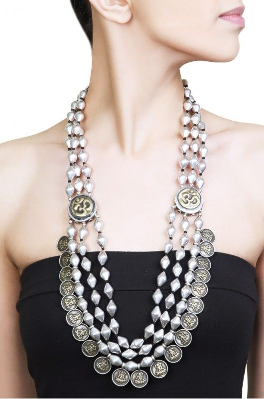 Dholki Bead With Charm Multi-Strand Necklace