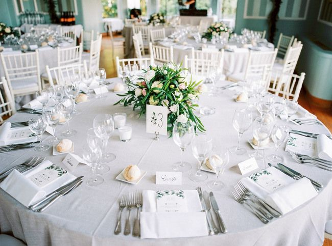 round table set with menus and floral centerpiece for wedding reception