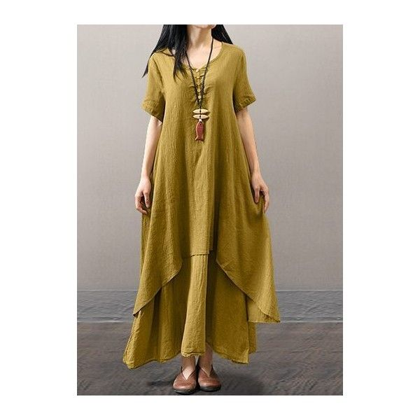Short Sleeve V Neck Layered Maxi Dress ($30) ❤ liked on Polyvore featuring dresses, yellow, brown maxi dress, layered dress, short sleeve maxi dress, brown dress and short-sleeve maxi dresses