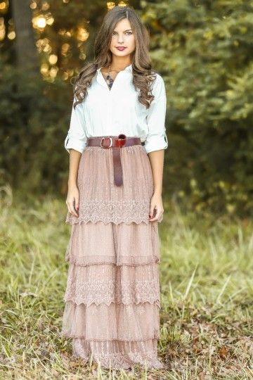 Stop the presses! The most gorgeous maxi skirt you will ever see! Lace, tiered maxi skirt in a stunning winter blush! Obsessed! Repin it if you love this look!