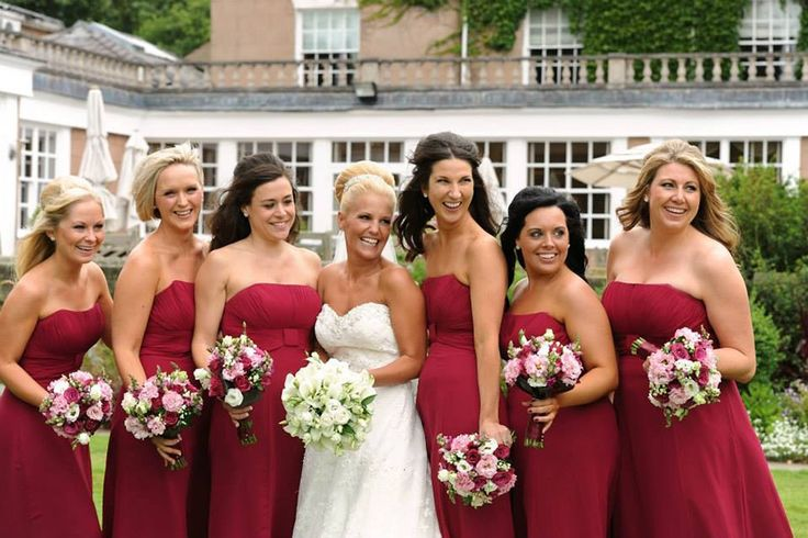 Bridal Party of white and Mulberry by Blue Orchid