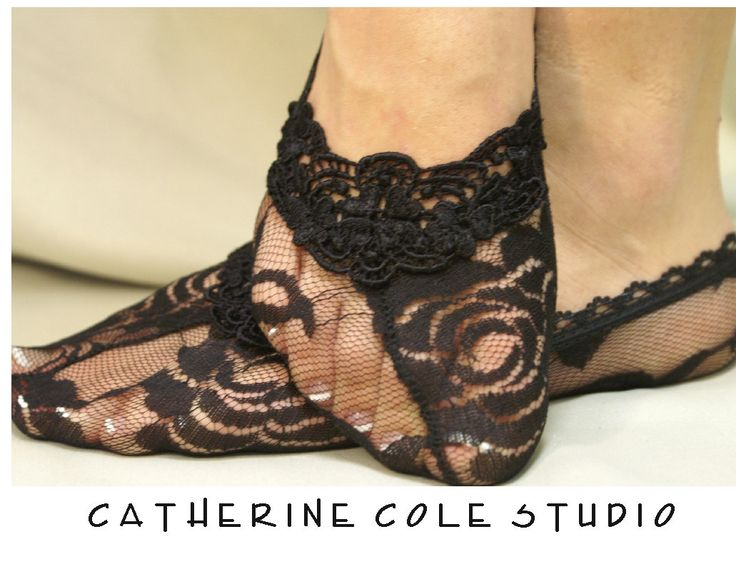 Lace socks for heels w/ lace trim Lace Flirty Footlet socks flats, pumps will love this girly style lingerie Catherine Cole. $10.50, via Etsy.