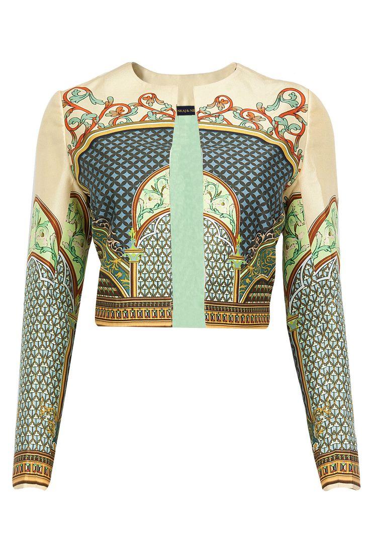 PANKAJ AND NIDHI Lyra printed short jacket available only at Pernia's Pop-Up Shop.