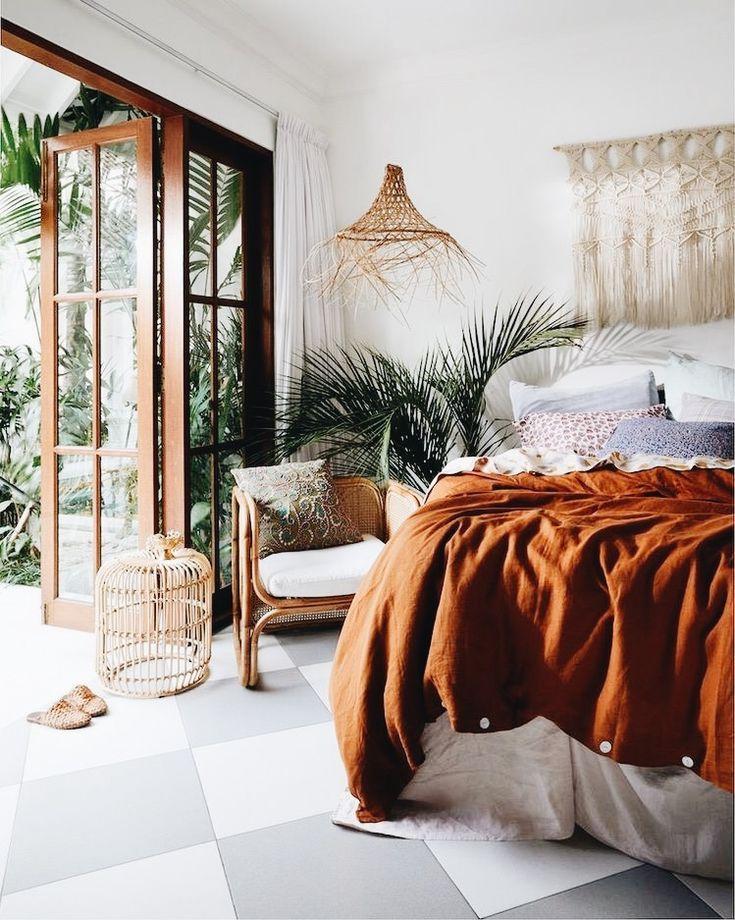 burnt orange bedspread, tropical mini palm bedroom