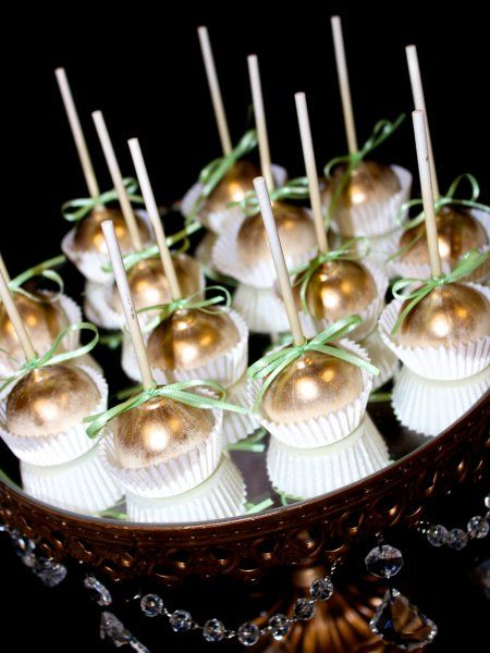 Hand painted gold cake pops