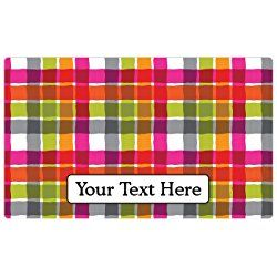 "Drymate Personalized Dog Place Mat - Pink Plaid - Personalized Pet Food Mat (Medium - 12"" x 20"")"