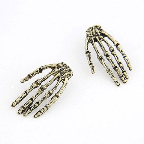 """Desdemona"" Skeleton Hand Studs $12 http://www.milkymoon.com.au/products/desdemona-skeleton-hand-studs"