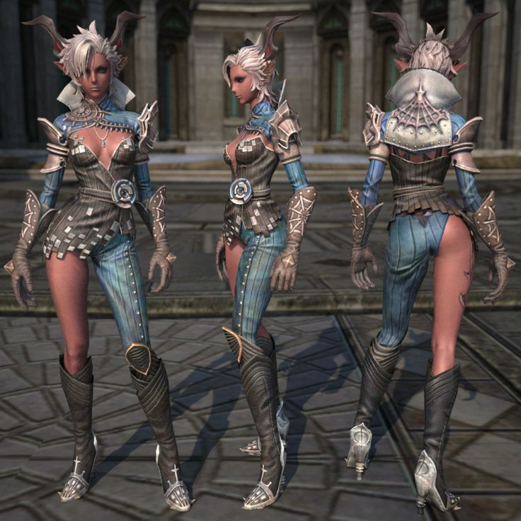 Castanic female leather armor render, TERA
