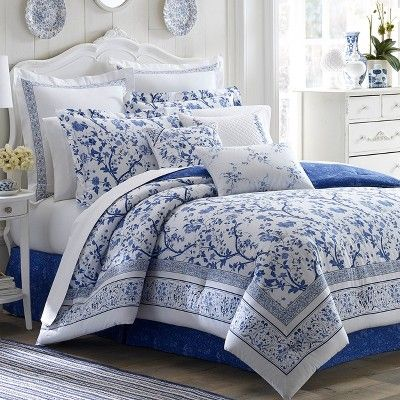 Blue Charlotte China Comforter Set (Twin) - Laura Ashley