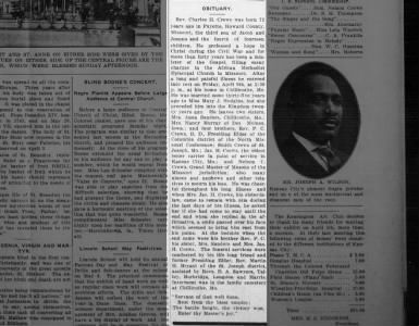 Chariton / Howard County News on April 17, 1915 on page 1 ~ Rev Charles H. Crews Obituary