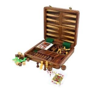 Coffret multi-jeux 5 en 1: Dominos, dés, échecs, Backgammon, cartes - Jouets fabriqués artisanalement en Inde: Amazon.fr: Jeux et Jouets