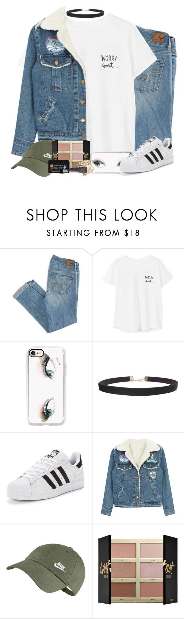 """""""comment a good eyeliner bc i need a new one"""" by camelizabethh ❤ liked on Polyvore featuring American Eagle Outfitters, MANGO, Casetify, Humble Chic, adidas Originals, Retrò, NIKE, tarte and Bite"""