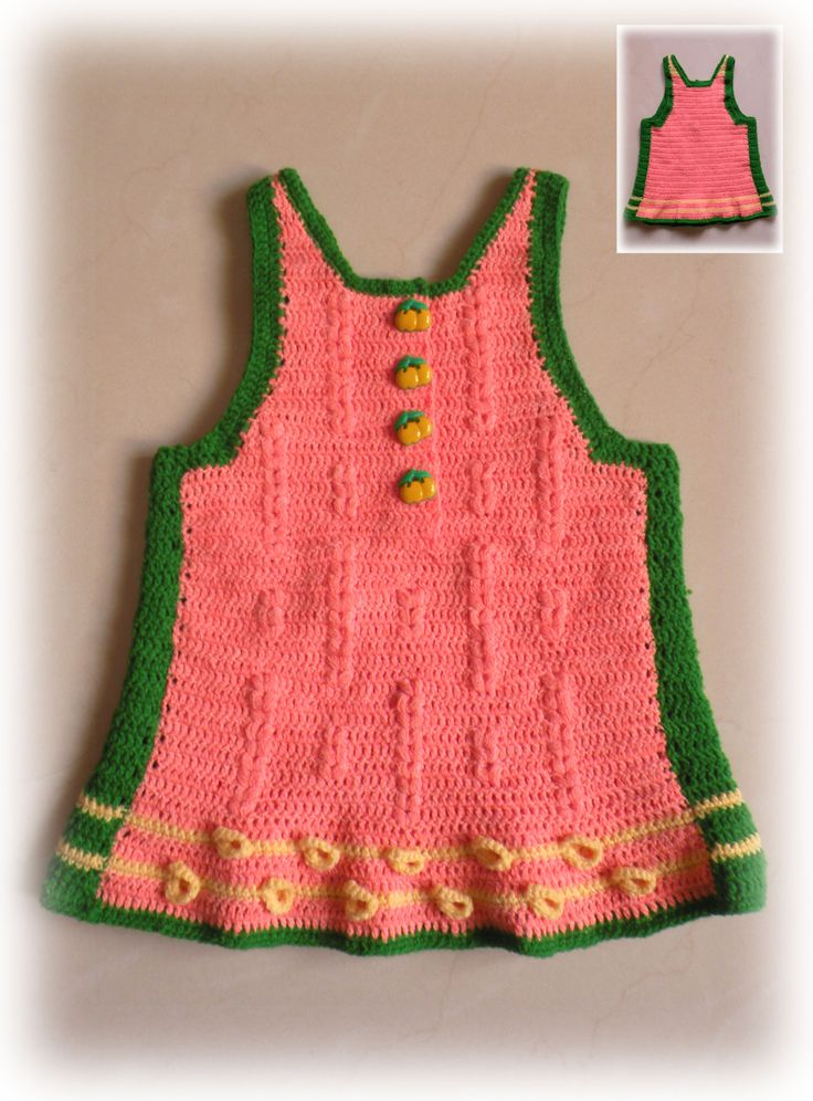 A knitted sleeveless pullover for a baby girl