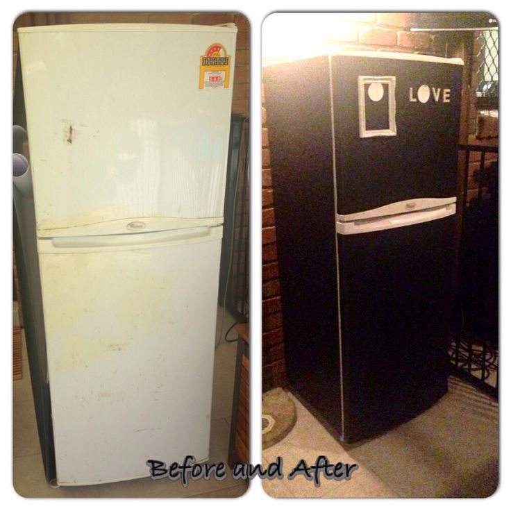 Once a tired old beer fridge now covered in blackboard adhesive done all by myself ! So easy to do!!