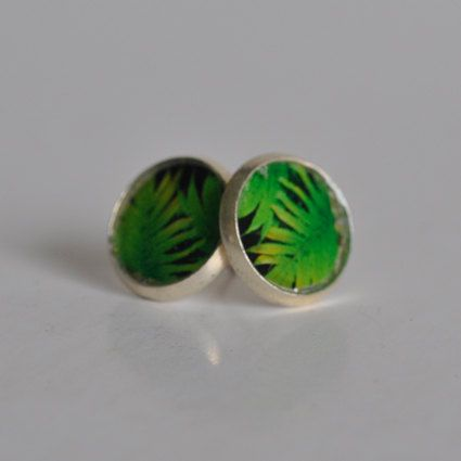 Green Fern Stud Earrings by WildSparrowDesign on Etsy https://www.etsy.com/listing/225638253/green-fern-stud-earrings