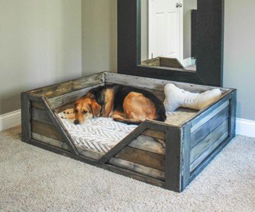 Easy Beautiful Diy Wooden Dog Bed Make This Using A Crib Mattress