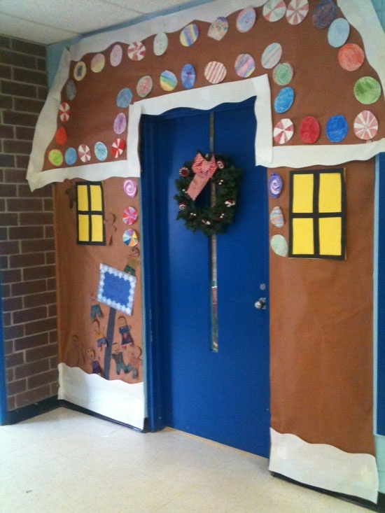 Want to do this to the door of our house area.  Or better yet, each 3rd grade room do their door as a grade level challenge the day we wrap presents for charity!Elementary School Door Decorating Ideas Christmas