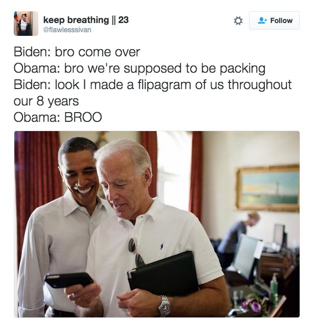 They are best friends   19 Totally Real Conversations Obama And Biden Have Had Since The Election