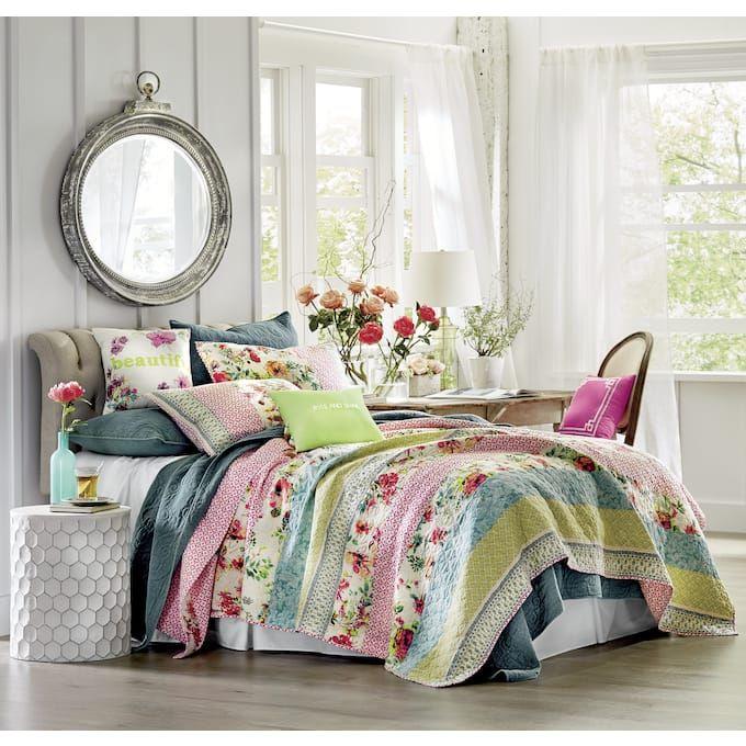 Boho Garden Quilt Sham Accent Pillows And Shower Curtain By
