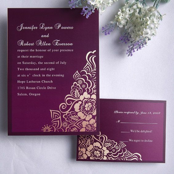 Personalized Retro Exquisite Purple Floral Wedding Card EWI078 as low as $0.94