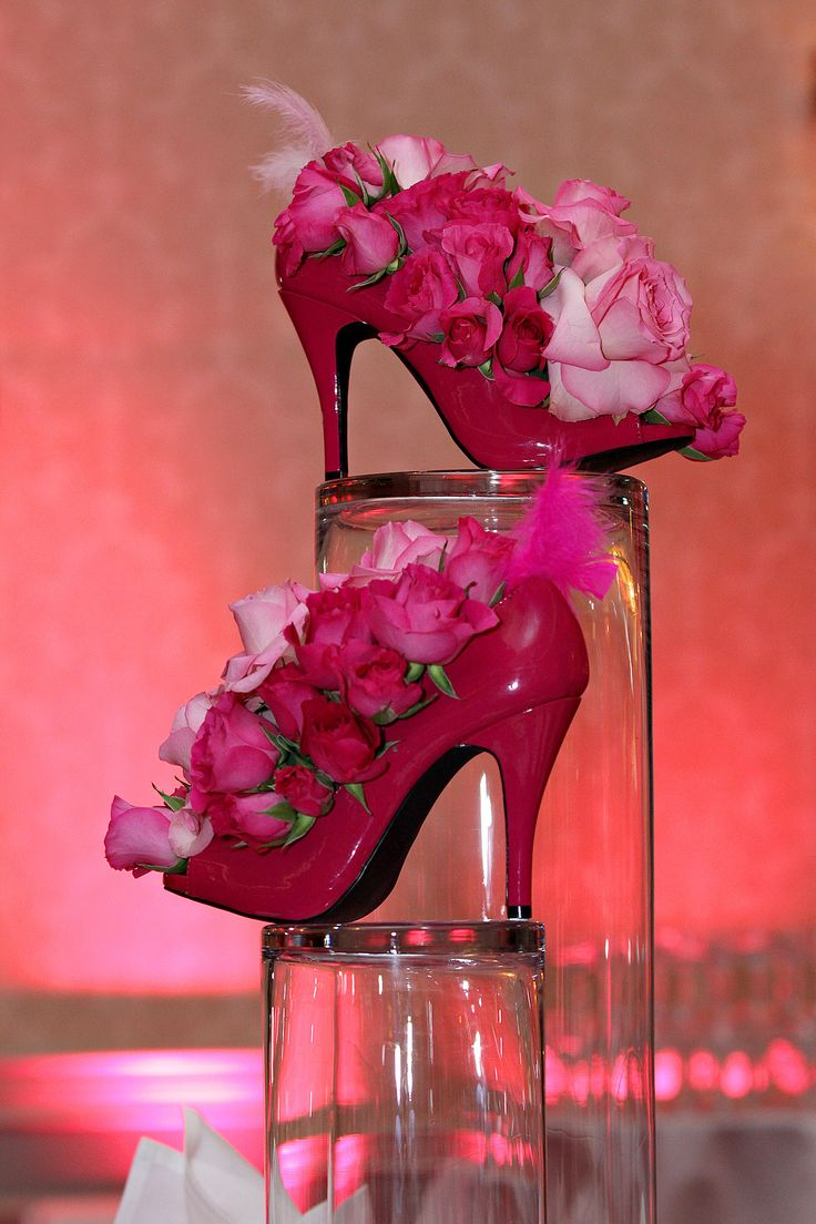 Pink high heel floral centerpieces bridal shower
