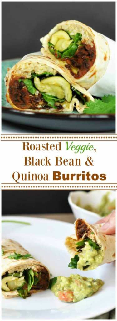 Roasted Veggie, Black Bean & Quinoa Burritos! One tortilla filled with hearty and healthy plant-based vegan food. One of my new favorite recipes. www.veganosity.com