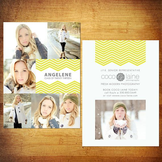 5x7 Senior Rep Cards PSD Template - Zig Zag to Match your LOGO