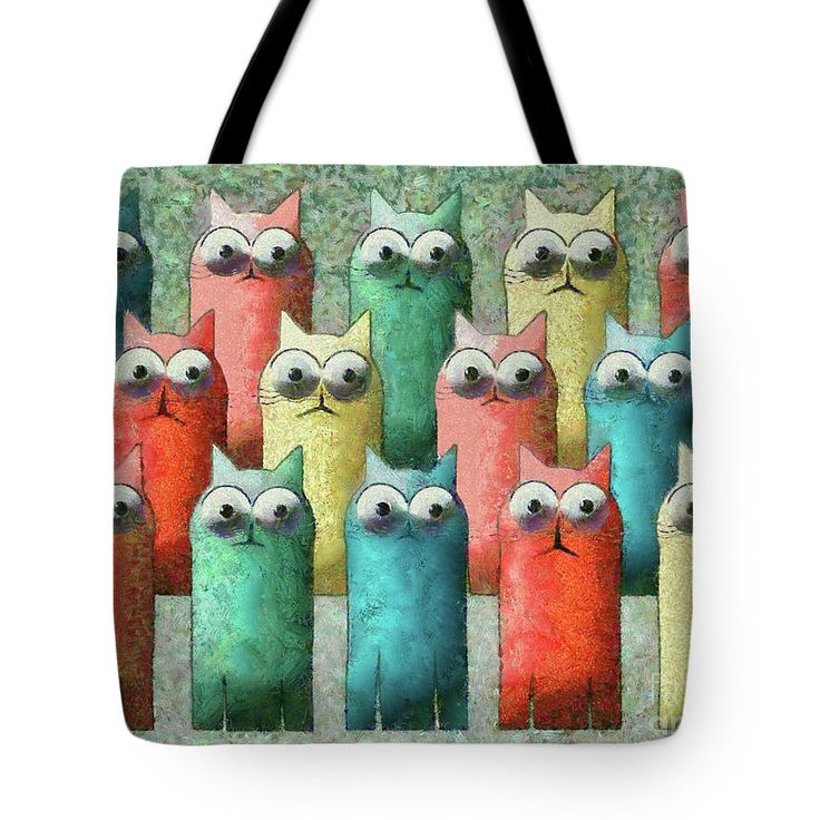 Cat Tote Bag featuring the painting Observing Cats by Grigorios Moraitis