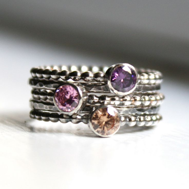 Stacking Rings  Mothers Rings  Set of 5 by LoreleyJewelry on Etsy, $88.00
