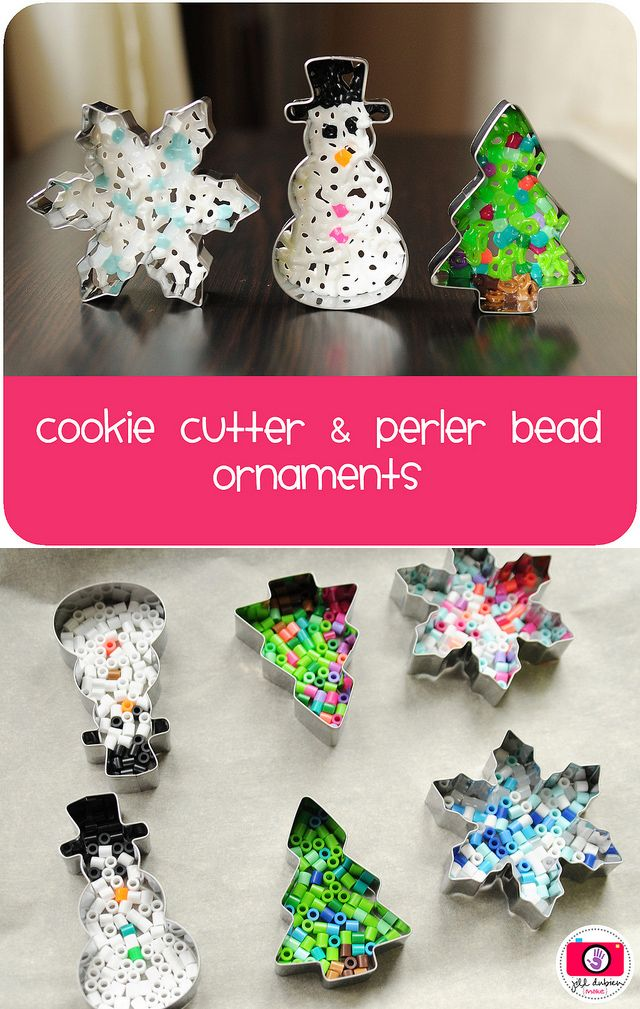 Melted hama bead and cookie cutter Christmas decorations