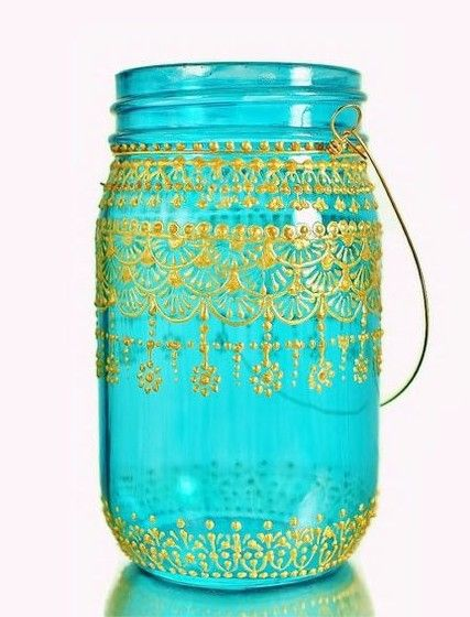 blue candle glass