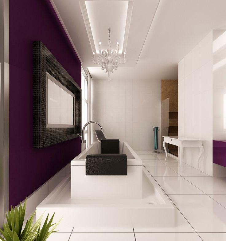 bathroom, Bathroom Interior Design Ideas With Purple And White Bathroom Glamour Chandelier For Modern Bathroom Design Ideas With White Ceramic Tile Bathroom Design With Bathroom Wall Tile Design Ideas With White Bathtub: Breathtaking Minimalist Style of Batroom Interior Design