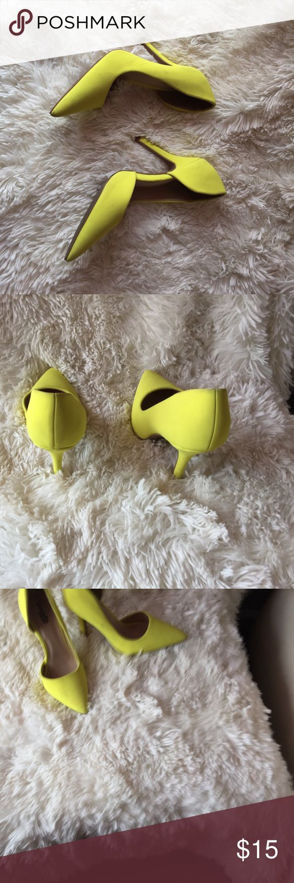 Selling this Neon yellow heels. TREND on Poshmark! My username is: essence_iman. #shopmycloset #poshmark #fashion #shopping #style #forsale #Charlotte Russe #Shoes