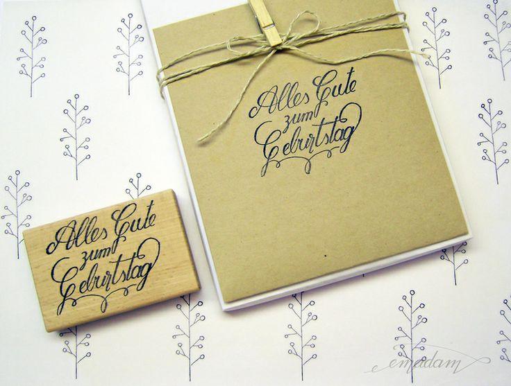 Stempel - Alles Gute zum Geburstag Calligraphy von Emadam auf DaWanda.com