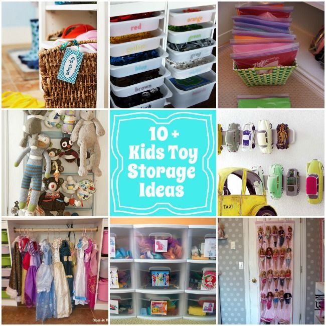 kids toy storage ideas via Design Dazzle.     Great post with links to some great ideas!