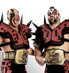 The Road Warriors  From: Chicago, Ill.  Signature Move: Doomsday Device  Career Highlights: World Tag Team Champions; AWA World Tag Team Champions; NWA National Tag Team Champions; NWA International Tag Team Champions; WWE Hall of Fame Class of 2011