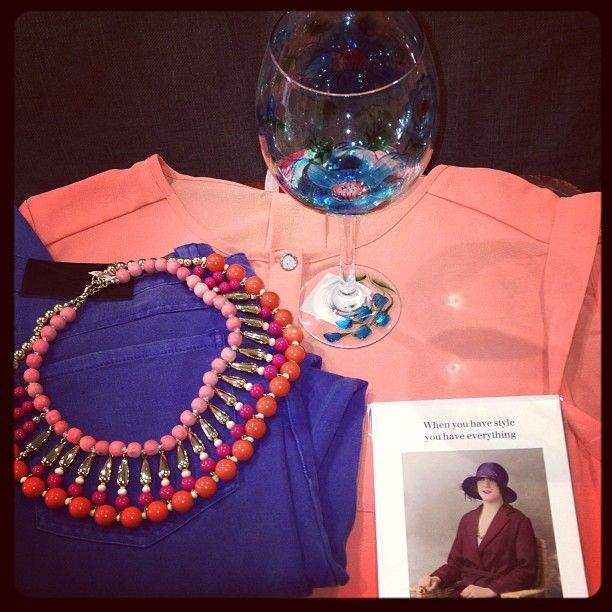 Coral and Cobalt blue are very on trend this SS13.Check out this casual look. Some of our favourites, #Coral  Statement Necklace, #Blue  Jeans and Coral blouse.http://bowandpearl.com/  Photo by lillyfunkfashion