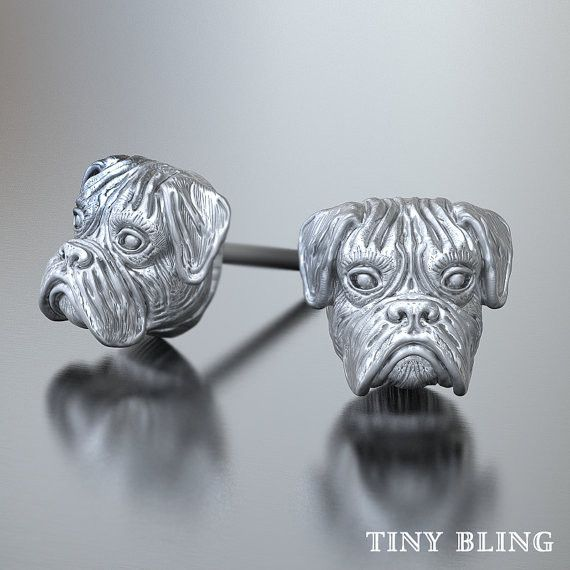 [video][/video] These amazing little Boxer Breed Earring Studs are adorable. These puppies are available in Sterling Silver and in 14k Gold. The silver version has a lightly hand burnished oxidized fi