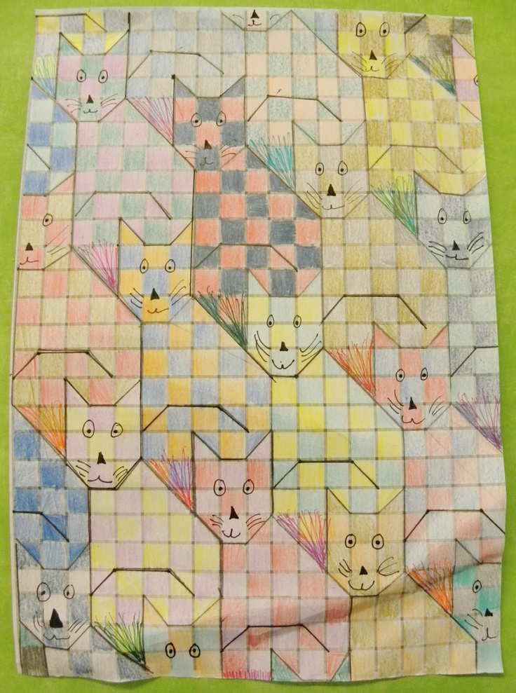 Year 6 pupil at Dunottar School - Tessellation work inspired by William Morris