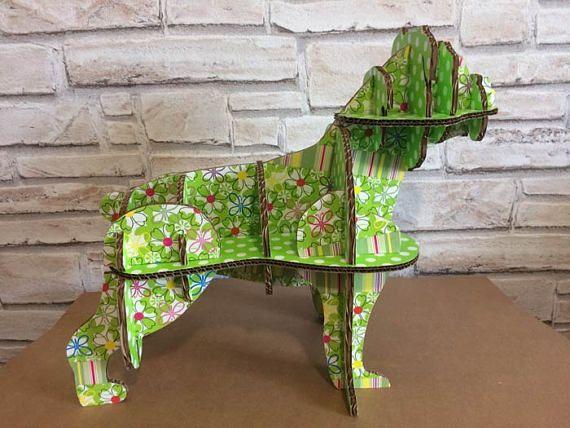 Unique Pug dog cardboard dog, animal decor English bulldog, animal shelf desk standing, sustainable dog, sculpture dog, shelve box jewelry