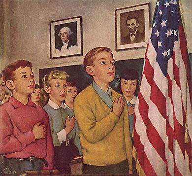 Bring back to our schools everything that is in this picture. Children dressed properly, The Pledge of Allegiance, George Washington and Abraham Lincoln pictures on the wall.