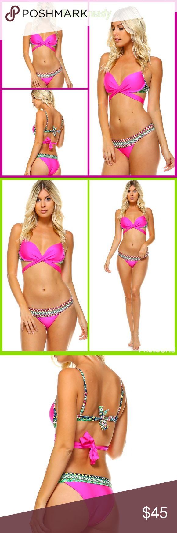 Just in! Spring break! Pink tribal bikini SML Spring break! Pink tribal bikini SML. Cute tie bow back. Tribal strap around bottoms and tribal top strap. Will fit b and c cup. Swim Bikinis