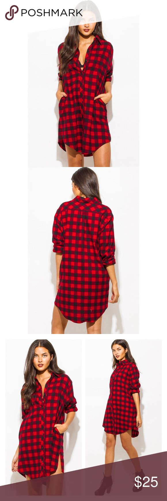 Plaid Flannel Tunic Button Up Oversized Dress Top Plaid flannel tunic shirt top Mini dress featuring three quarters sleeves and a relaxed fit that can also be worn as an oversized top. 100% Cotton Dresses