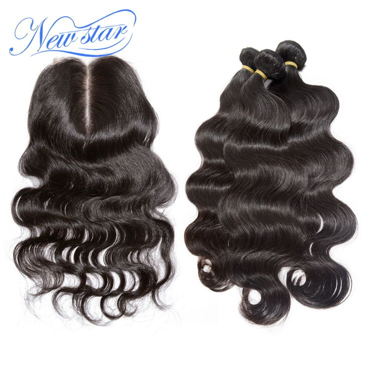Nuevo pelo estrella Peruana del cuerpo del pelo virginal Peruano con cierre wave 3 paquetes con una parte media cordón de la onda del cuerpo cierre