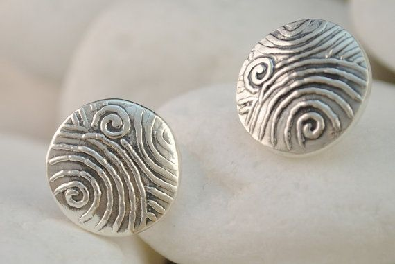 Spiral Design Solid Sterling Silver Stud Earrings by A. LeONDARAKIS inspired by ancient Greek motifs