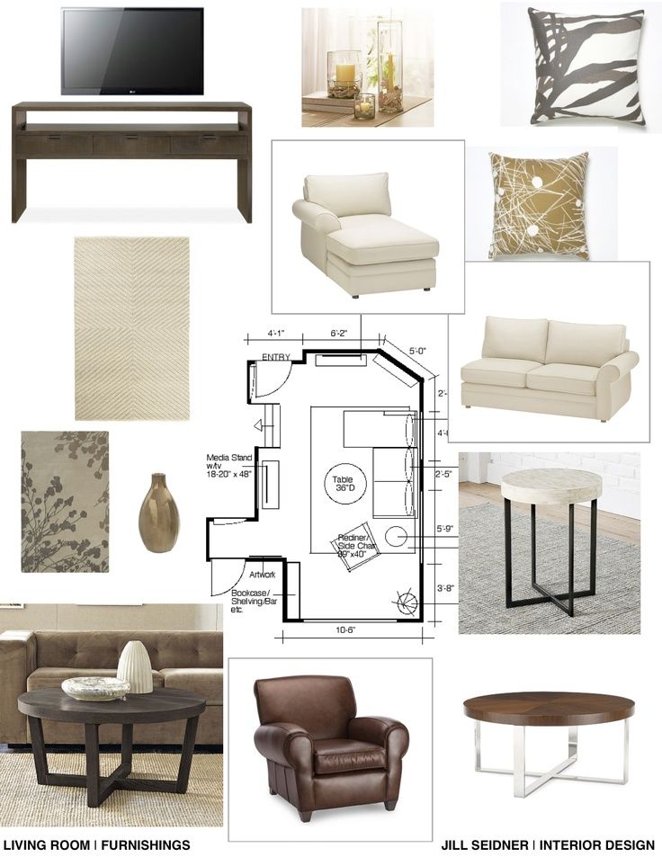 Furnishings Concept Board For Living Room