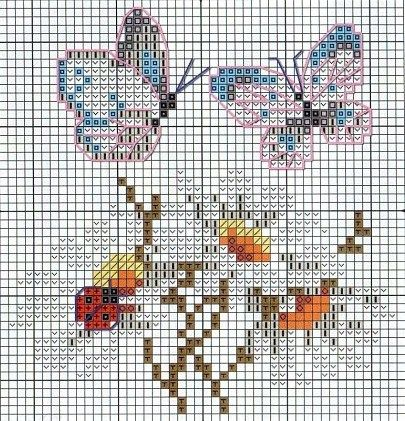 Flowers and butterflys cross stitch