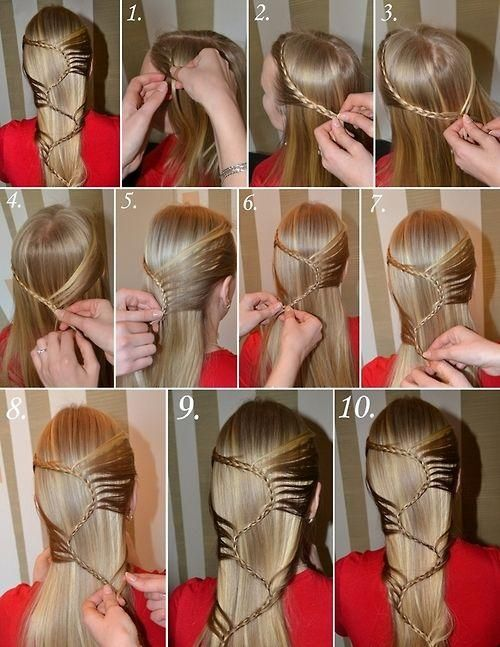 Quite a neat braid idea! However, I would stop it after the second section and turn it into one big swooping braid that would fall over the shoulder. Very cool though!