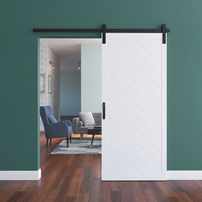 Dogberry Herringbone 36 In X 84 In White Stained 1 Panel Wood Knotty Alder Barn Door Hardware Included Lowes Com In 2020 Barn Door Barn Door Hardware White Stain